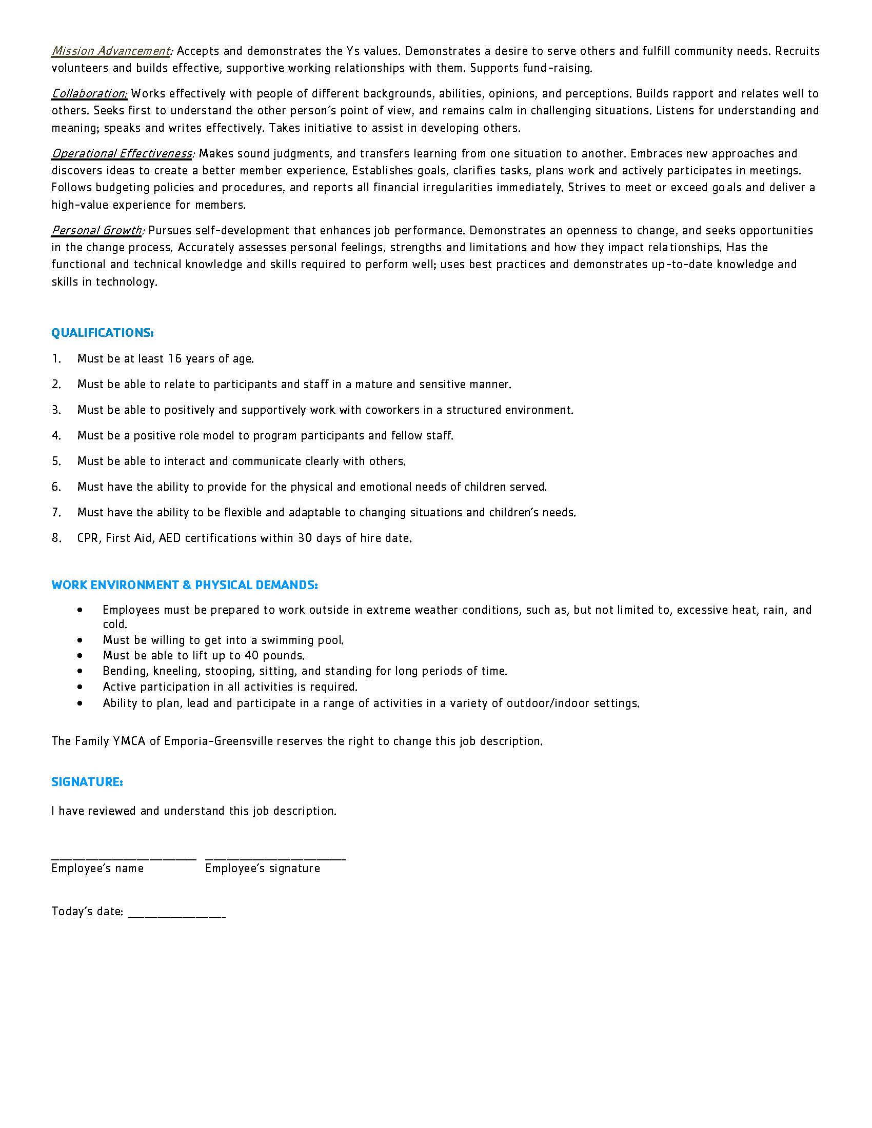 School Age Counselor Job Description updated for 2018 2019 school year Page 2