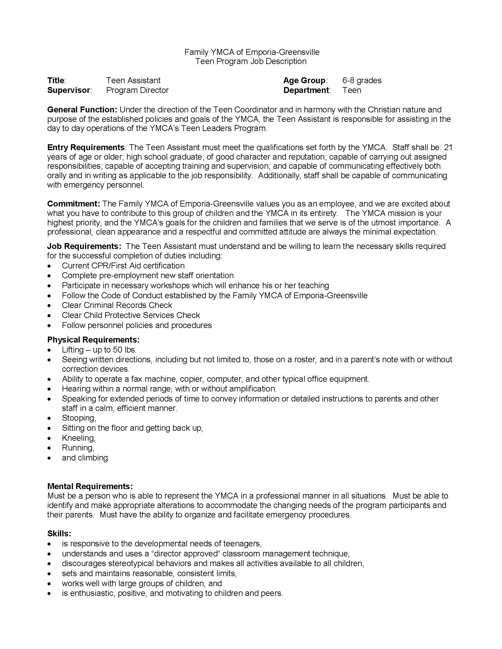 Teen Assistant Job Description updated 10 4 11 Page 1